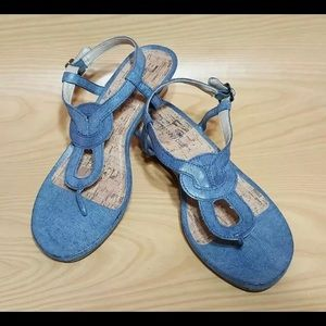 MONTEGO BAY CLUB WEDGE ANKLE STRAP SANDALS. S: 7